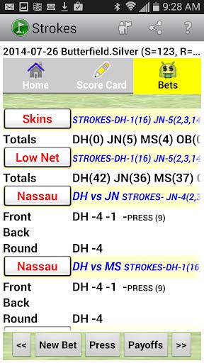Golf Strokes & Bets - screenshot