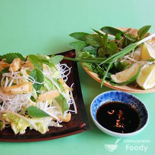 Ingredients of Vietnamese Vegetarian Noodle Salad (Bún Chay)