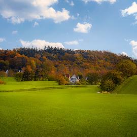 House in the Fields by Awais Khalid - Landscapes Prairies, Meadows & Fields ( season, nature, blue, autumn, green, firelds, house, landscape )