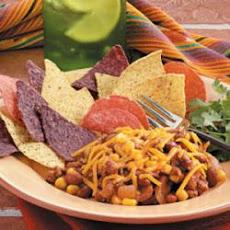 Chili Bean Nacho Skillet