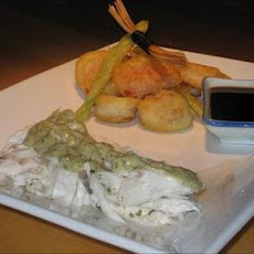 Baked Whole Fish With Tahini Sauce and Tempura Vegetables
