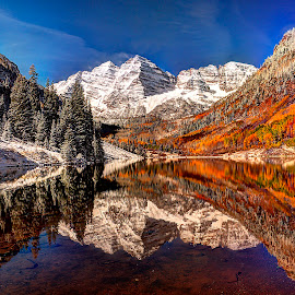 Maroon Bells Morning by John Larson - Landscapes Mountains & Hills ( water, mountains, fall colors, nature, snow, trees, reflections, forest, lake )