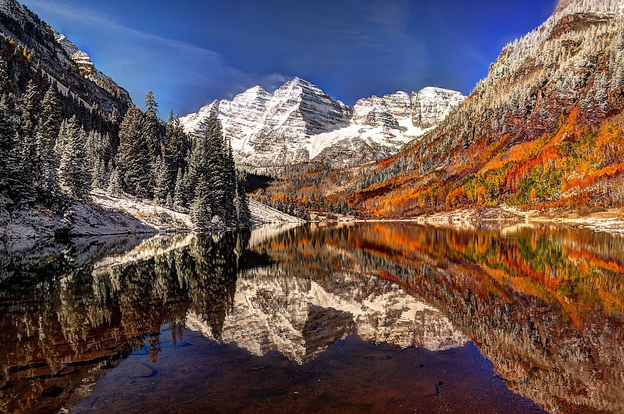 Maroon Bells Morning by John Larson - Landscapes Mountains & Hills ( water, mountains, nature, fall colors, snow, reflections, trees, lake, forest )