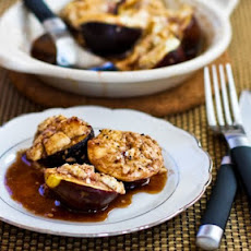 Roasted Figs with Goat Cheese and Balsamic-Agave Glaze