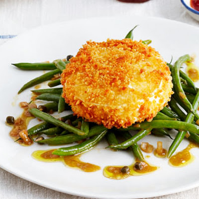 Fried Goat's Cheese With Green Beans, Capers And Shallots