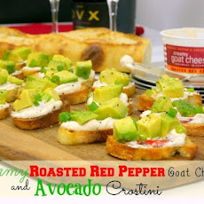 Creamy Roasted Red Pepper Goat Cheese and Avocado Crostini
