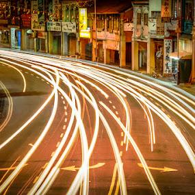 Light Trail 2 by Adrian Choo - City,  Street & Park  Street Scenes ( penang, light trails, night, streets, 500d, heritage )