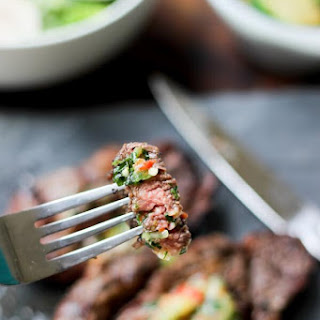 Grilled Chuck Eye Steaks with Chili Herb Butter