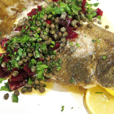 Sole with Brown Butter, Beets, and Capers
