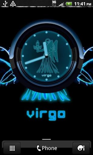 VIRGO - Neon Blue Clock