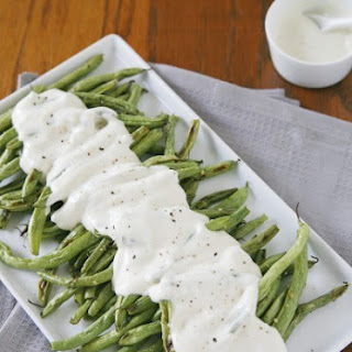 Roasted Green Beans with Yogurt Dressing
