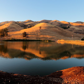 Small Lake near a hill by Sanjib Paul - Landscapes Mountains & Hills ( water, hills, sky, sunset, landscape, evening )