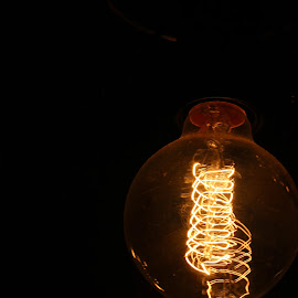 The filament by Pranay Suyash - Artistic Objects Other Objects ( bright, black and yellow, bulb, electricity, filament, light bulb, light )