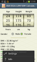 Screenshot of BMI/BSA/LBW/IBW-Healthy Weight