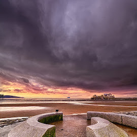The Bay by Pete Watson - Landscapes Beaches ( bench, harbour, hand held hdr, photoshop cs6, beach, coastline, landscape, nikon d90, artwork, scapes, sands, beaches, south west, somerset, picnick bench, seat, cloudy, colour efex pro 4, knightstone, nik software, evening, clouds, weston super mare, sand, hdr, afternoon, seascapes, sea, beach architecture, coastal, hdr efex pro 2, winter, february, moody, weston bay )