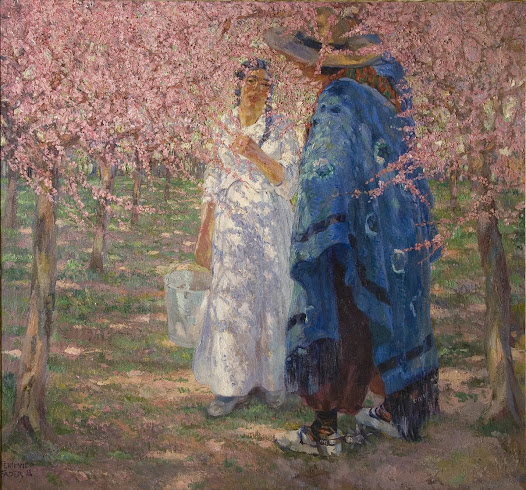 In this scene, the girl is being courted by a countryman on a plantation of peach trees in bloom. She is wearing a simple long dress...
