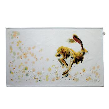 Hare rabbit tea towel art rustic English shabby chic