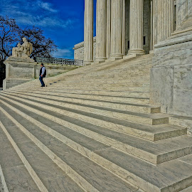 Man and the Court by Barbara Brock - City,  Street & Park  Historic Districts ( stairway, washington dc, steps, alone, man, supreme court, vertical lines, pwc )