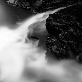 To Another Places by Muhammad Sholeh Ismail - Nature Up Close Water ( water, nature, black and white, dark, rock )