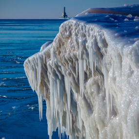 Big Ice on North Beach by James Meyer - Landscapes Waterscapes ( iceberg, wisconsin, jamesmeyerphotography, ice formation, lake michigan, ice, yourhomeport, lighthouse, lake, port washington )