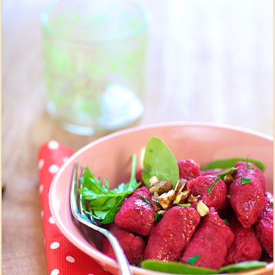 Beet and Potato Gnocchi, with Hazelnuts