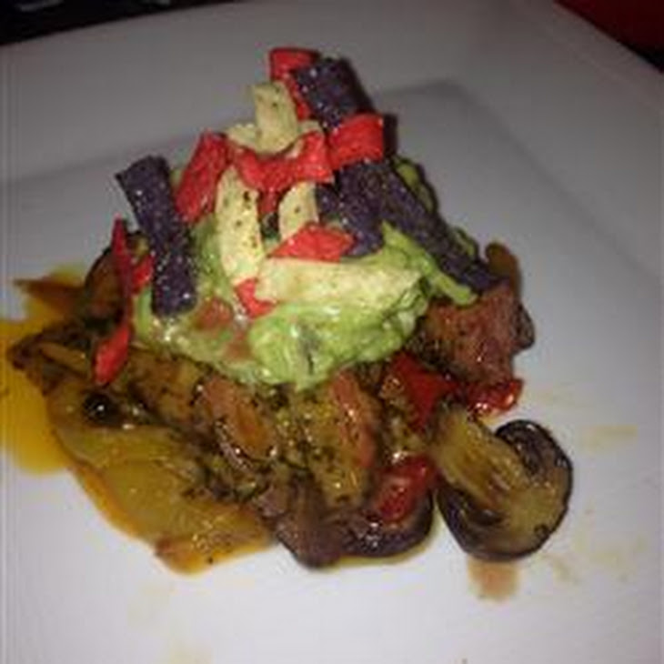 Filet Mignon with Bell Pepper Haystack and Fresh Guacamole Served with Corn Chips