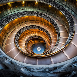 by Aaron Choi - Buildings & Architecture Other Interior ( vatican city, stair, italian, europe, staircases, rails, tourism, architectural detail, vatican, travel, steps, spiral, architecture, museum, roma,  )