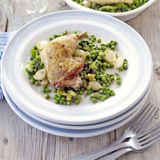 Corn-fed Chicken Legs With Braised Peas & Onions