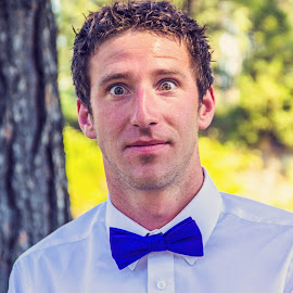 Look by Simeon VonBerg - People Portraits of Men ( bowtie, purple, montana, wedding, stare, summer, eyes )