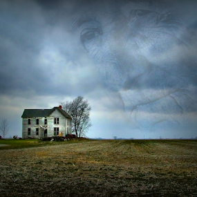 Where His Memories Were made by Julie Dant - Digital Art Places ( man in clouds, spirit, storm clouds, old farm house, memories, abandoned house, abandoned )