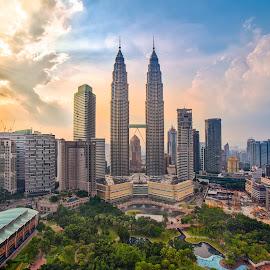 Kuala Lumpur Skylines by Nikon Guy - City,  Street & Park  Skylines ( skyline, sunset, twin tower, dusk, kuala lumpur, city,  )