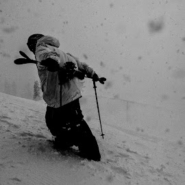 hiking in the storm by Rich Glass - Sports & Fitness Snow Sports ( skiing, winter, black and white, snow, hiking, halfpipe )