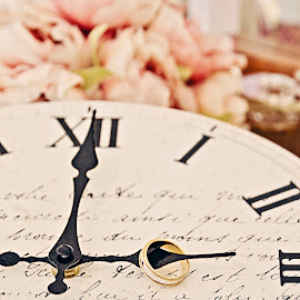 On Time by Alan Evans - Wedding Details ( wedding photography, clock, wedding flowers, aj photography, marriage, wedding, wedding day, wedding rings, bride and groom, bride, canberra wedding photographer, wedding details, groom )