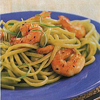 Linguine with Scallion Sauce and Sauteed Shrimp