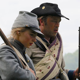 Rebel Soldiers by Barbara Brock - News & Events US Events ( man and woman soldiers, rebel soldiers, civil war re-enactment, people, confederate soldiers,  )