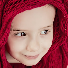 Scarf by Jenny Hammer - Babies & Children Children Candids ( child, girl, red, beauty, cute, scarf )