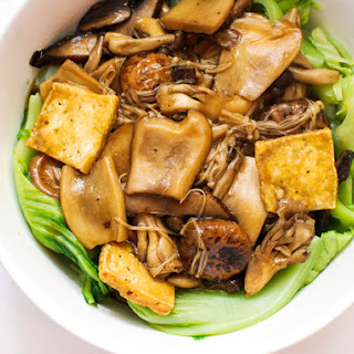 Mushrooms and Tofu With Chinese Mustard Greens