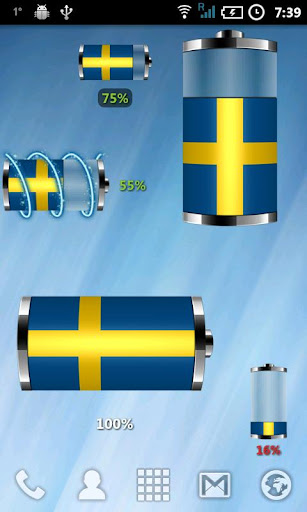 Sweden: Flag Battery Widget