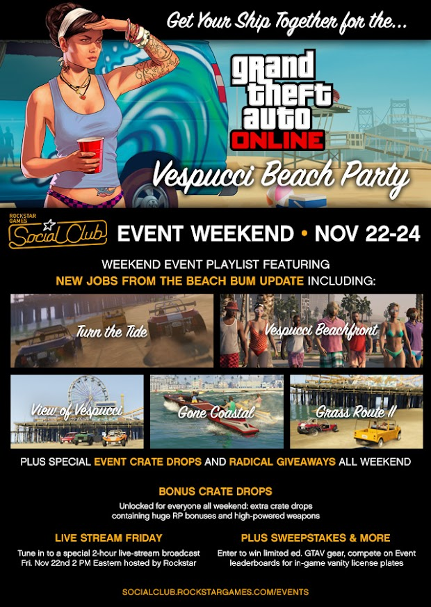 GTA Online's first Social Club Event Weekend kicks off today