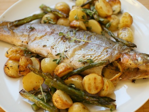 Whole Roast Trout with Potatoes and Asparagus Recipe | Yummly