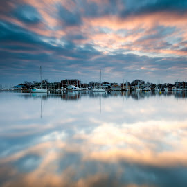 rule # 3 by Edward Kreis - Landscapes Waterscapes ( clouds, annapolis, spa creek. severn river, reflections, neutral density, lee filters, rule three, dawn, winter, morning light, maryland, long exposure, annapolis harbor, sunrise, little stopper )