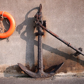 Anchor & Lifebuoy by Darrell Evans - Artistic Objects Other Objects ( old, kisby ring, perry buoy, rope, life preserver, sea, lifebuoy, rust, wall, anchor,  )