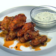 Honey-Rosemary Wings with Greek Yogurt and Lemon Garlic Dipping Sauce