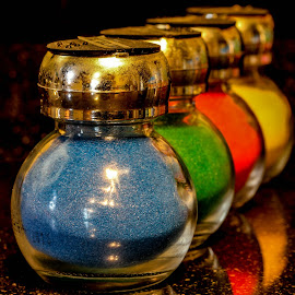 Coloured sand by Garry Chisholm - Artistic Objects Other Objects ( garry chisholm, sand, red, blue, green, glass, yellow, jars )