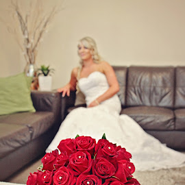 Red Roses by Alan Evans - Wedding Bride ( wedding photography, wedding day, wedding, red flowers, aj photography, wedding flowers, goulburn wedding photographer, getting ready, bride )