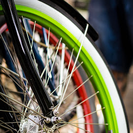 Spokes by Derrick Leiting - Transportation Bicycles ( abstract, sppokes, bike, wheel, color, chrome, art, tires, composition, transportation, bicycle )