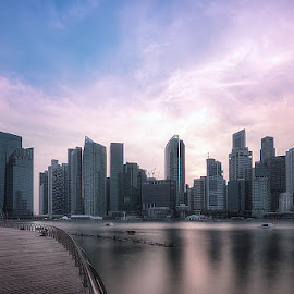 early sunset in marina bay by Lloyd Albert Manto - City,  Street & Park  Skylines ( skyline, lloydmanto, park, lomhanz, singapore, marinabay, city )