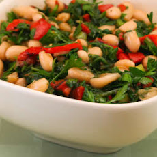 White Bean Salad Recipe with Roasted Red Pepper, Arugula, and Parsley