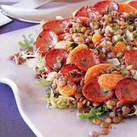Kielbasa and Lentil Salad with Warm Mustard-Fennel Dressing