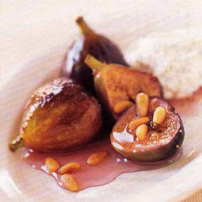 Sambuca Poached Figs with Ricotta and Pine Nuts